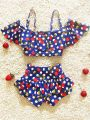 Kiskissing deepblue Cherry Pattern Printed Swimwear Set for Toddlers Girls the obverse side wholesale kids clothing