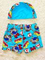 Kiskissing 2-piece blue Cartoon Pattern Printed Elastic Cap Swimwear Set for Toddlers Boys wholesale childrens clothing