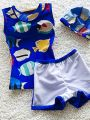 Kiskissing 3-piece blue Cartoon Fish Elastic Swimwear Set Top Shorts Hat for Toddlers Boys kids clothing wholesale suppliers
