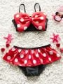 Kiskissing 3-piece Cute Spots Printed Bikini Swimwear Set Bow Top Skirt Type Shorts Cap for Toddlers Girls wholesale kids swimsuit