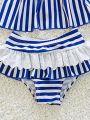 Kiskissing blue 3-piece Cute Striped Printed Bikini Swimwear Set Top Skirt Type Shorts Headband for Toddlers Girls the panties details