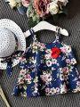 Kiskissing 3-piece Floral Sun-top Shorts Hat Set Vest for Toddlers Girls the  deep blue top details