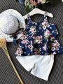Kiskissing  deep blue 3-piece Floral Sun-top Shorts Hat Set Vest for Toddlers Girls toddler girl wholesale clothing