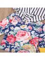 Kiskissing 2-piece Top Pants Baby Set Floral Striped Hoodie Top Long Trousers For Baby Boys Girls the flowers details