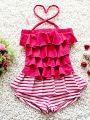 Red Striped Layered Cake Pattern Swimwear Halterneck for Big Girls