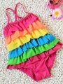 Lovely Rainbow Layered Colors Strapped Swimwear for Toddlers Girls