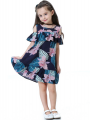 Flounced Flower Print Sleeveless Cotton Dress for Toddlers Girls
