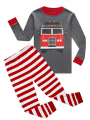 2-Piece Cute Cartoon Car Print Loungewear Set Color Block Pullover Tee Top W Red Striped Leggings Baby Toddler Sleepwear for Winter