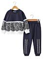 2-Piece Little Big Girl Sweatshirt & Sweatpants Set Floral Lace Trimmed Color-blocking Sweatshirt Jumper+Letters Sweatpants