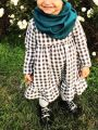 Baby Little Girl White & Black Checked Spring Casual Ruffled Shift Dress