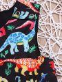 Sleeveless Colorful Dinosaur Print Shift Dress Kids Summer Casual One-piece Dress