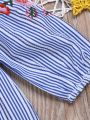Spring Infant Toddler Girls Off-shoulder Flower Embroidery Vertical Stripe Blouse Top
