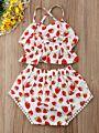 2-piece Summer Baby Girl Strawberry Print Crop Top + Shorts Set