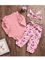 3-Piece Baby Girl Spring Clothes Outfits Set Pink Ruffle Long-sleeved Romper+Floral Trousers+Headband