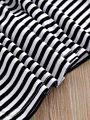 White & Black Striped Long Bell-sleeve Baby Dress
