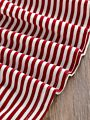 White & Red Striped Long Bell-sleeve Baby Dress