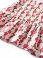 2-Piece Toddler Infant Baby Girl Summer Clothes Outfits Set Flower Suspender Top + Pom Pom Trimmed Red Short Pants