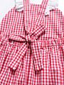 Lace-trimmed White & Red Checked Baby Girl Suspender Bodysuit Onesie