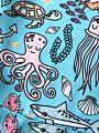 Spring Baby Little Girl Cartoon Underwater World Long-Sleeved Casual Dress
