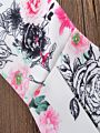 2-Piece Fashion Little Girl Pink Bow Crop Top + Flower Bell-bottoms