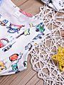2-Piece Pom Pom Trimmed Cartoon Baby Bodysuit+Headband