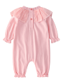 2-Piece Spring Spanish Style Baby Baptism Outfits Ruffle Jumpsuit +Hat