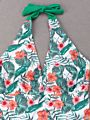 Family Matching Flower Leaf Print Halter Neck One Piece Swimming Suit for Mom and Daughter