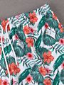 Family Matching Flower Leaf Swimming Trunks for Father and Son