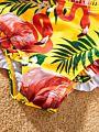 Family Matching Stylish Flamingo Halter Neck Bikini Swimwear for Mom and Daughter