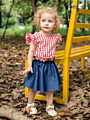 2-Piece Stylish Infant Girl Clothes Outfit Flutter Sleeve Plaid Top+Blue Skirt
