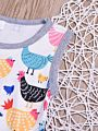 2-Piece Fashion Toddler Little Girl Cartoon Chicken Outfit Layered Sleeveless Top Matching Ruffle Icing Pants