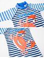 2-Piece Little Boy Crab Fish Stripe Pattern Swimwear Matching Swimming Cap