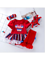 4-Piece Fourth Of July Baby Outfit Romper Dress+Red Ruffle Warm Legwarmers+Shoes+Headband
