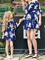 Mommy and Me Flower Overall Print Off Shoulder Dress
