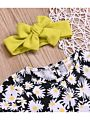 3-Piece Baby Toddler Girl Outfit Ruffle Floral Top+Bell-bottoms+Headband