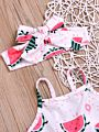 3-Piece Watermelon Outfit Suspender Crop Top+Skirt+Headband