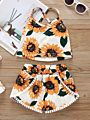 2-Piece Sunflower Baby Toddler Girl Clothes Outfit Cross Top Matching Shorts