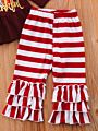 2-Piece Baby Toddler Girl Thanksgiving Day Outfit Feather Tunic Matching Stripe Ruffle Icing Pants