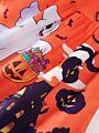 Halloween Ghost Pumpkin Sleeveless Dress with Belt
