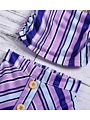 3-Piece Baby Toddler Girl Stripe Top+Buttoned Skirt+Headband Set