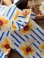 Baby Girl Flower Stripe Flutter Sleeve Romper Long-sleeved