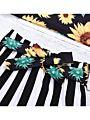 2-Piece Sunflower Suspender Top Matching Stripe Skirt Set