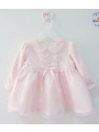 Cute Doll Collar Baby Girl Princess Baptism Dress Spanish Style Baby Lace Frock Pink