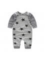 2-Piece Infant Spring Casual Clothing Outfits Set Striped T-shirt+Star Suspender Pants