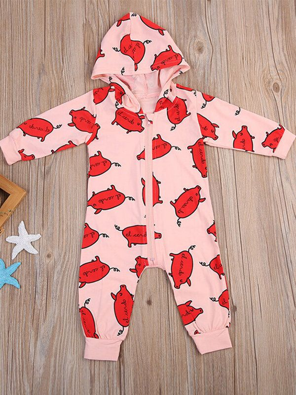 af2e0d8d17c9 ... Kiskissing Red Pigs Printed Zipped Cute Romper Pajamas for Babies the  obverse side wholesale baby onesies ...