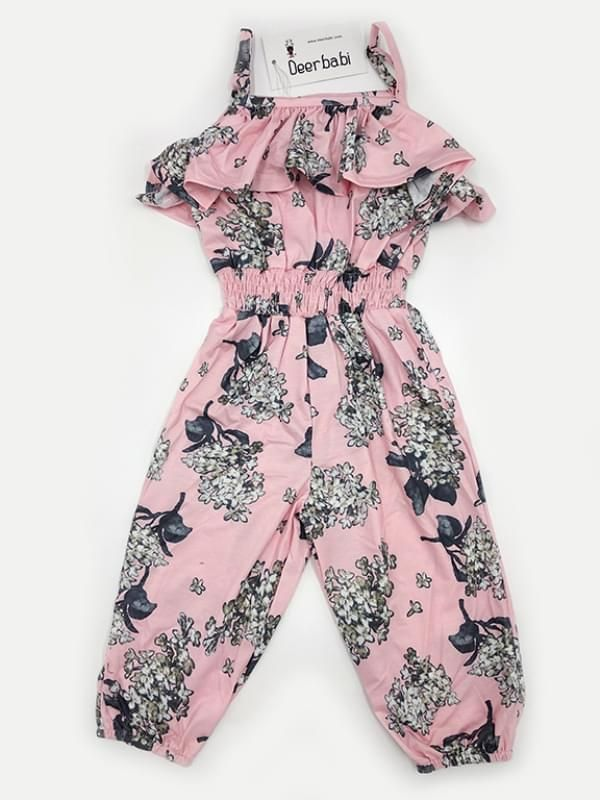 6fcaf7571 ... Kiskissing Flowers Printed Off-shoulder Straps Jumpsuit Overalls for Baby  Toddler Girls wholesale kids boutique ...