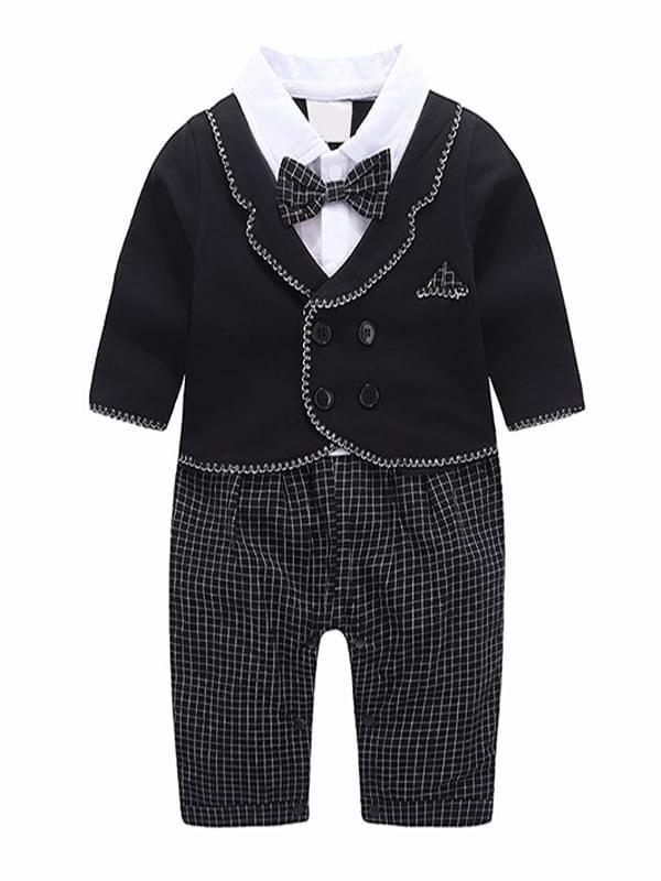 259aab69730d ... Kiskissing black color Bow Fake-2-Piece Romper Jumpsuit Baby Boys Suit  wholesale ...
