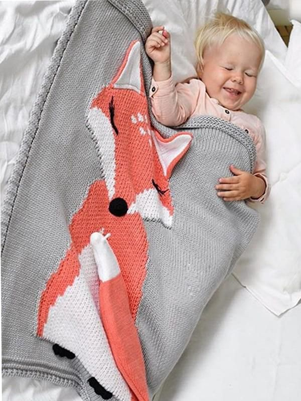 Wholesale Cute Fox Pattern Knitted Blanket For Babies T
