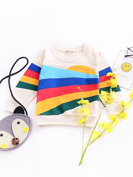 5467fb3f3affa Cute Rainbow Print Tassel Trimmed(Option) Long Sleeve T-shirt Top Baby  Toddler Girls Hoodie Kids Sportwear for Fall Wholesale