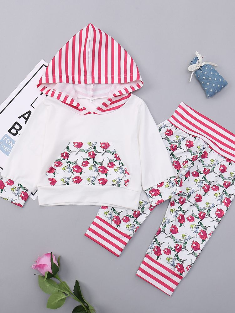 4a6e9030362a Casual 2-piece Baby Toddler Girls Kids Clothing Set Sport Outfits Long  Sleeve Striped Hooded ...